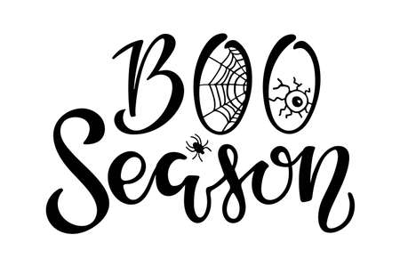 Boo Season lettering. Halloween sign. Text with sketch design element spider, eye . Black-and-white illustration. Use for printing, posters, T-shirts, textile drawing, print pattern. Ilustração