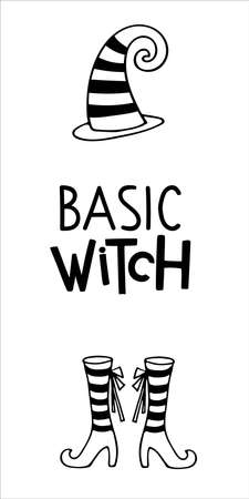 Halloween lettering. Witches gather here. Vertical halloween sign. Front Porch Sign. Black-and-white illustration. Use for printing, posters, card, T-shirts, drawing, print pattern.