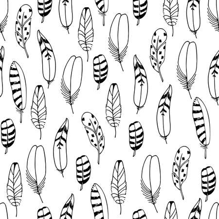 Vector Feathers Seamless Pattern. Hand drawn illustration. Boho style. Black sketch isolated on white background. For print , textile, fabric, wrapping paper, wallpaper.