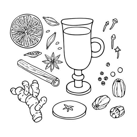 Mulled wine ingredients set. Hand drawn Winter elements. Doodle Outline vector illustration. Hot winter drink recipe. Organic product sketch. Christmas drinking. Flavor cooking ingredient. Imagens - 156739222