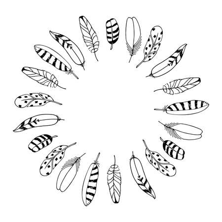 Vector Feathers Wreath. Hand drawn frame. Black illustration isolated on white background. Place for text. For wedding, invitation, greeting card, poster, business promotion, fashion design. 向量圖像