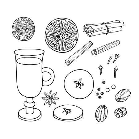 Christmas drinking. Mulled wine ingredients set. Fruit mulled wine recipe. Doodle Outline illustration. Hot winter drink recipe. Organic product sketch. Flavor cooking ingredient. Imagens - 157163394