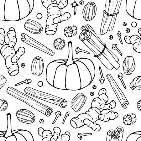 Pumpkin spice seamless pattern. Hand drawn Autumn backdrop. Doodle Outline illustration. Organic, fresh cooking, ingredient. Organic product sketch. For wallpaper, wrapping, scrapbooking Imagens - 157163393