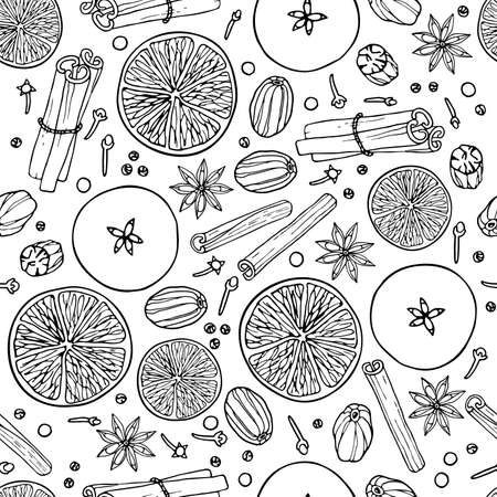 Christmas drink ingredients seamless pattern. Fruit mulled wine recipe. Doodle Outline illustration. Hot winter drink recipe. Organic product sketch. For wallpaper, wrapping, scrapbooking. Imagens - 157163401