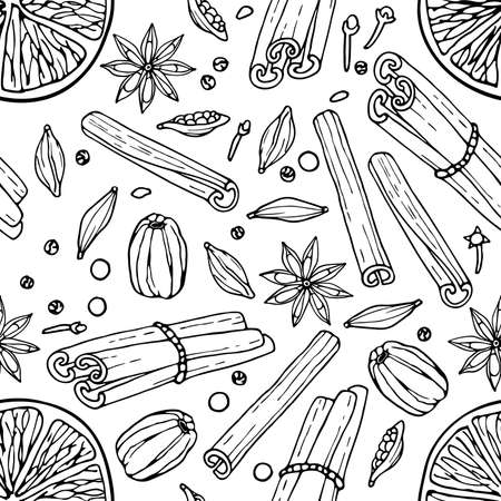 Seamless pattern with Mulled wine ingredients. Hand drawn Winter elements. Doodle Outline illustration. Hot winter drink recipe. Christmas drinking. For wallpaper, wrapping, scrapbooking.