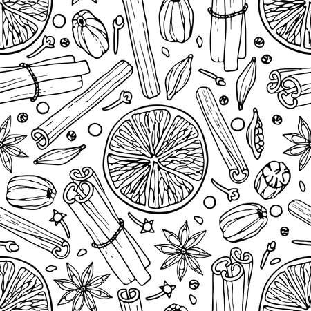Seamless pattern with spices. Mulled wine ingredients. Hand drawn Winter elements. Doodle Outline vector illustration Hot winter drink recipe Christmas drinking. Imagens - 157163773
