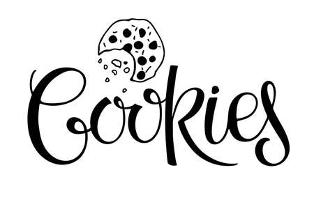 Cookies lettering isolated on white background. Text with hand drawn sketch element. Typography poster for cafe, menu, wall art. Hand written quote with brush calligraphy. Sweet dessert. Vector