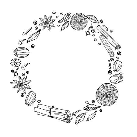 Round frame with spices. Mulled wine ingredients. Hand drawn elements. Doodle vector illustration. Hot winter drink recipe Christmas drinking. With empty space for text, photo, save date Imagens - 157700634