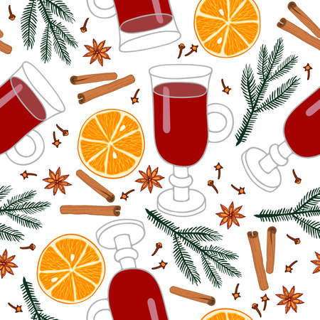 Mulled wine ingredients seamless pattern. Winter hot wine drink with spices isolated on white background. Mulled wine recipe Orange fruit slice, cinnamon, anise, clove, decorative fir-tree branch.