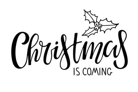 My First Christmas lettering with Snowflake. Celebration quote for baby Christmas. Sublimation print for junior clothing, family holiday decor. Black sketch element for Invitation, card poster, gift. Vector Illustration