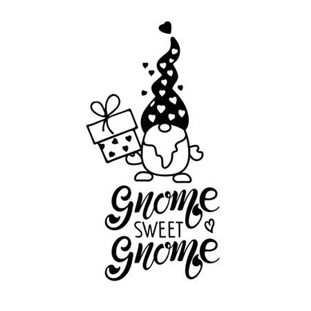 Gnome sweet Gnome Quote typography. Lettering illustration vector text and sketched Gnome with gift box. Black element on white background. Handwritten modern brush lettering isolated.