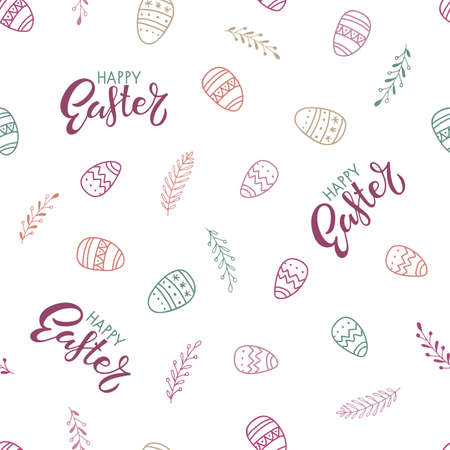 Easter Seamless Patterns. Happy Easter lettering, easter eggs, spring branches. Hand drawn pastel vector illustration. For Easter print , textile, fabric, wrapping paper, wallpaper, scrapbooking