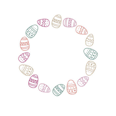 Round Easter Eggs Frame. Pastel color Hand drawn wreath with place for date, photo, text. Sublimation print for clothing, family holiday decor, greeting cards, banners, invitation, announcements. Ilustração