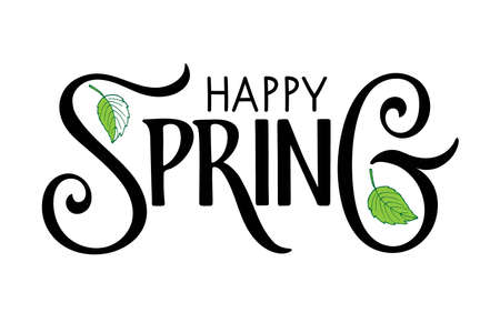 Happy Spring handwritten lettering with leaf on white background. Vector season greeting. Vector Spring Design for poster, banner, card, badge, t-shirt, print, icon, logo, badge. Season illustration.