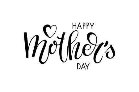 Happy Mothers Day text template. Handwritten calligraphy vector illustration. Mothers day card. Modern brush calligraphy. Sublimation print for mug, t-shirt, sticker, brochure, poster, label Ilustração
