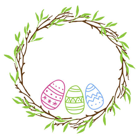 Round Easter Frame with branches and easter eggs. Pastel color Hand drawn wreath with place for date, photo, text. Sublimation print for clothing, greeting card, banner, invitation, holiday decor