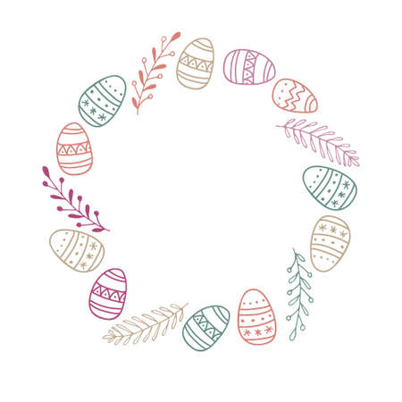 Easter Frame with easter eggs and branches. Pastel color Hand drawn wreath with place for date, photo, text. Sublimation print for clothing, family holiday decor, greeting card, banner, invitation