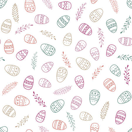 Seamless Patterns with easter eggs and spring branches. Happy Easter background. Hand drawn pastel vector illustration. For Easter print , textile, fabric, wrapping paper, wallpaper, scrapbooking Ilustração