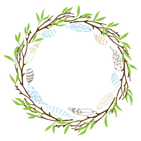 Branches, feathers and Frame. Colorful Hand drawn Isolated wreath with place for date, photo, text. Sublimation print for greeting card, banner, invitation, holiday decor, label. Ilustração