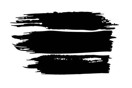 Vector brush strokes. Black paint strokes. Brush stroke set isolated on white background, grunge backdrop. Dirty artistic design elements. Dry border in Black. Ilustração