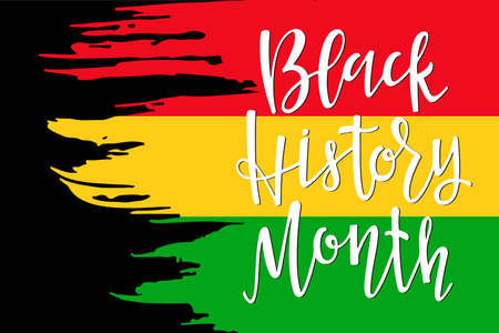 Red Yellowe Green Sticker with Black History Month lettering. American African. For Poster, card, banner, print. Handwritten lettering. February is National Black History Month. Holiday concept