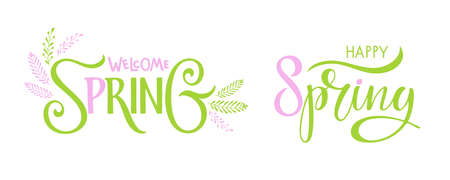Green and pink sticker with spring lettering. Happy Spring, Welcome spring. Hand drawn lettering and decor element. Design for easter invitation, party decor with hand drawn leaf and handwritten text