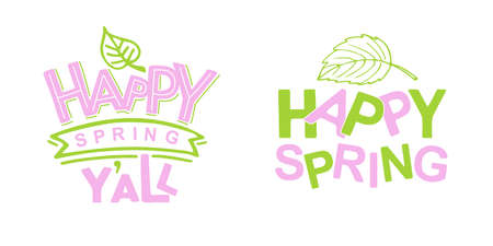 Pink Green Spring poster. Hand drawn lettering typography. Celebration text Happy Spring You all for postcard, icon or badge. Vector calligraphy. Scrapbooking for easter party.