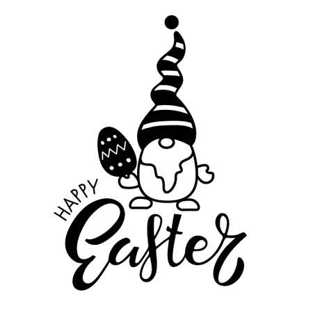 Easter Gnome with Happy Easter lettering. Black and white vector illustration for cards, mugs, home decor, shirt design, invitations. Concept on white in cartoon style for the Easter holiday.