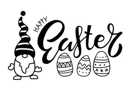 Happy Easter card with Gnome, lettering, easter eggs. Black and white vector illustration for cards, mugs, home decor, shirt design, invitations. Black Cartoon sketch on white for Easter holiday.