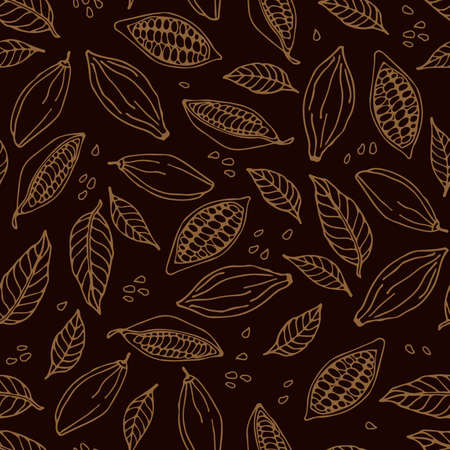 Cocoa beans and cocoa leaves seamless pattern. Hand drawn vector Cacao plant sketch on dark brown background. Doodle Outline illustration. Plant parts.