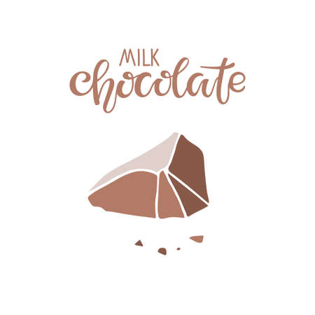 Milk Chocolate Text with chocolate piece isolated on white background. Quote Lettering. Broken piece of light brown chocolate. Vector sign