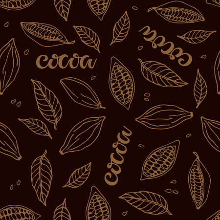 Seamless pattern with Cocoa beans, cocoa leaves, cocoa lettering. Hand drawn vector sketch on dark brown background. Doodle Outline illustration. Plant parts.