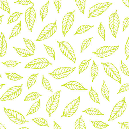 Green leaves seamless pattern. linear contour on white background. Hand drawn Doodle style. Digital paper for scrapbooking, digital creativity, gift packaging, fabric, wallpaper, other surfaces. Ilustração