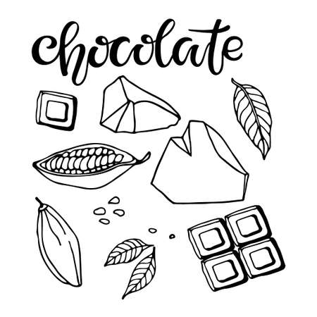 Set of Chocolate. Vector Hand drawn Cocoa beans, leaves, pieces of chocolate and Chocolate text on white background. Organic product Doodle sketch for cafe, shop, menu, for manufacturers and sellers