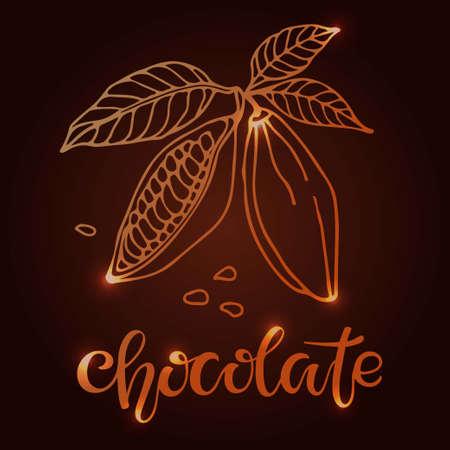 Shining Handwritten Chocolate text and Cacao beans with leaves sketch on brown background. Doodle Outline illustration for cafe, shop, menu. For label, emblem, symbol. Organic food illustration Ilustração