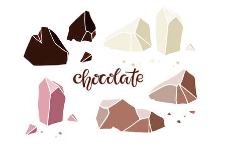Chocolate different kinds. Broken pieces of white, milk, dark, ruby chocolate. Chocolate handwritten text. Iisolated on white backgroun. Vector handdrawn collection. Ilustração