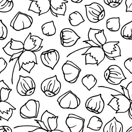 Hazelnut seamless pattern. Hand drawn vector nut backdrop. For wallpapers, wrapping papers, restaurant menu, web page background, textile, packaging food. Hand drawn style. Organic food backdrop