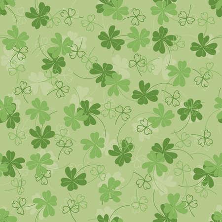 Saint Patrick's day background with shamrock. Floral seamless pattern. Vector illustration in green color. Clover Ireland symbol pattern. Ilustração
