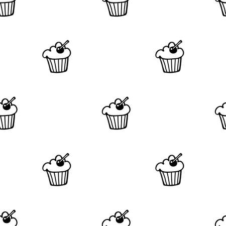 Hand drawn sketched muffin seamless pattern.