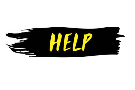 Help Hand written lettering. Yellow word isolated on black sticker. Mental health typography quotes concept. Vector text brush written. Help request word. Grunge sticker.