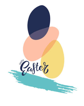 Happy Easter lettering, easter eggs, brush stroke. Color vector illustration for cards, home decor, shirt design, invitations for holiday. Easter Egg Paint. For manufacturers and sellers of food dyes.
