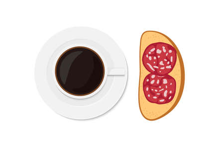 Coffee and Sandwich with Sausage slices. Overhead view of isolated Breakfast snacks with sausage salami avd morning drink vector flat on white. For menu, cafe, restaurant, poster, banner, emblem.