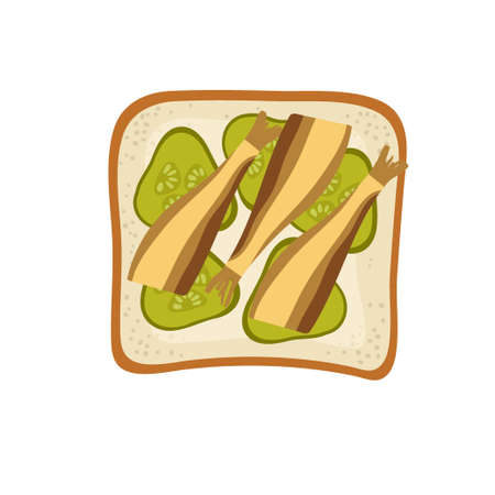 Pickles and Sprots Sandwich. Snack with small fish, bread, pickles. Overhead view of isolated Breakfast snacks on toast vector flat. For menu, cafe, restaurant, poster, banner, emblem, sticker