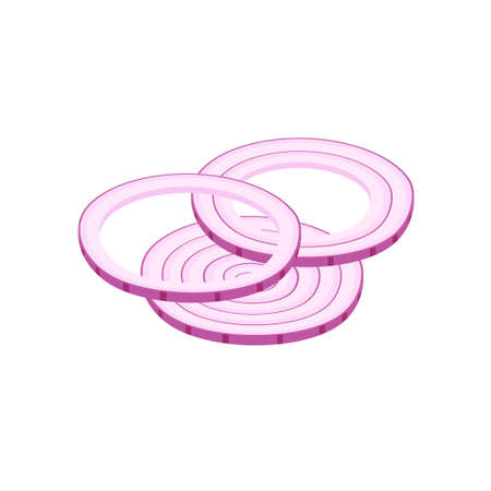 Icon red onion sliced with rings. Portion slises red bow. Vector illustration isolated on white. Flat design style for menu, cafe, restaurant, poster, banner, emblem, sticker. Hamburger ingredient.
