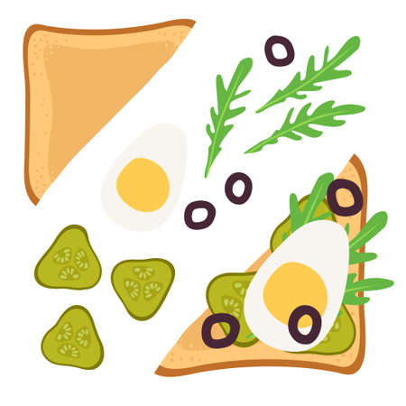 Sandwich Ingredients. Sandwich with pickle, egg, olives, arugula. Snack. Overhead view of isolated Breakfast snacks on toast vector flat. For menu, cafe, restaurant, poster, banner, emblem, sticker