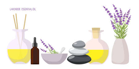Organic and natural cosmetics. Aroma Diffuser, medicinal plants bouquet, balance stones, aroma oil, mortar and pestle. Self care concept. For cosmetics, store, beauty salon, natural organic products 向量圖像