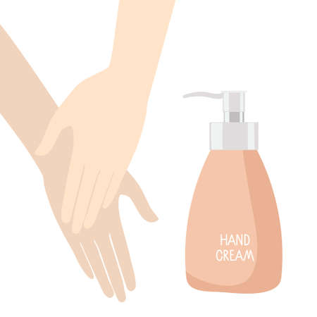 Hand Cream. Womens hands apply rotective or moistening cream, dispenser with inscription isolated on white background. For prints, posters, banners, cards and design. Daily beauty product.