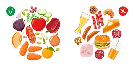 Healthy food and Junk food. Benefits of proper nutrition. Diet Choice. Choose foods that are body useful. Healthy food vector flat on white background. Healthy nutrition. Fastfood vs balanced menu Vecteurs