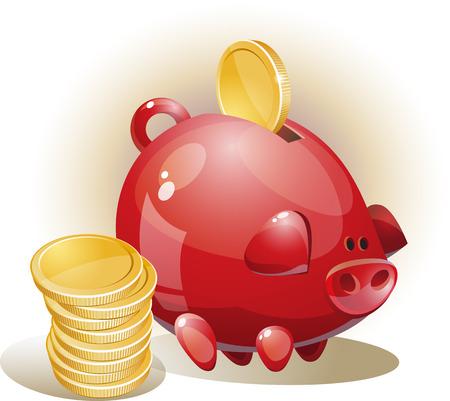 Illustratie met munten en spaarvarken Stock Illustratie