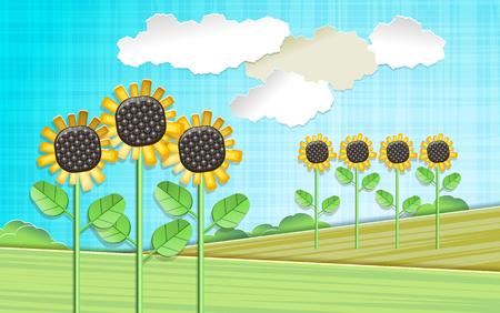 Illustration with sunflowers Ilustração